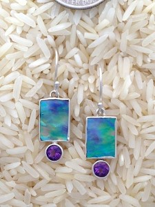 Paua Abalone Earrings X-Small Rectangular: Rd Amethyst