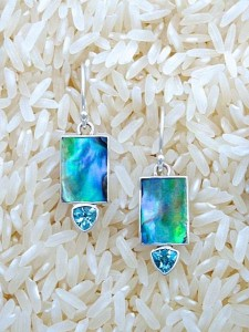 Paua Abalone Earrings X-Small Rectangular: Trill Blue Topaz