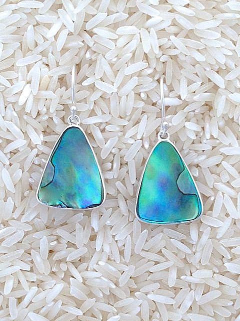 Paua Abalone Earrings Small Tri/Oval
