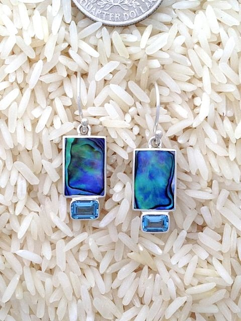 Paua Abalone Earrings X-Small Rectangular: EC Blue Topaz
