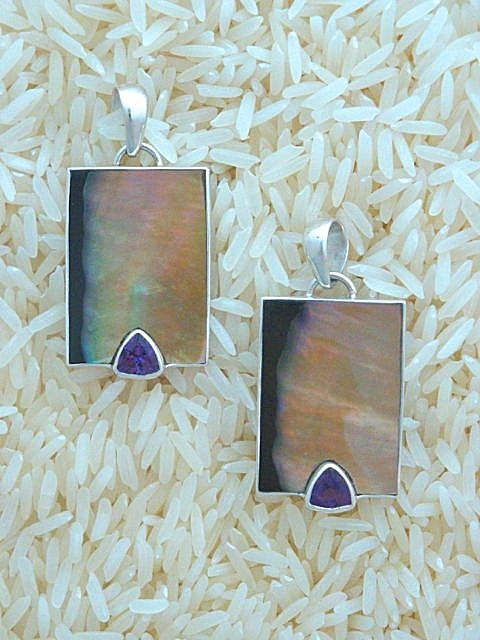 Black Lip Pendant Small Rectangular: Trill Amethyst