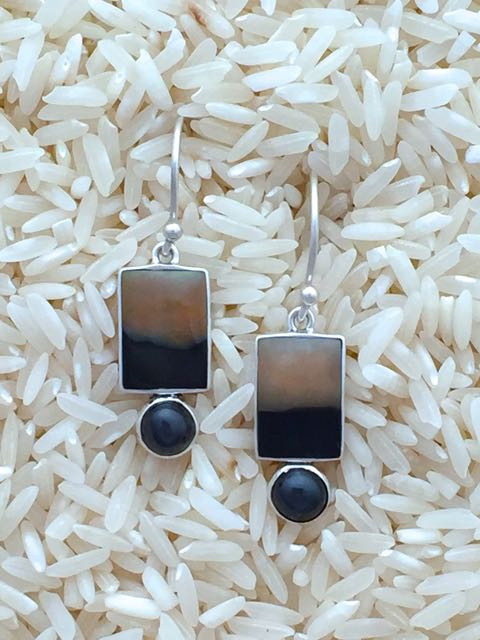 Black Lip Earrings Rectangular Small with Black Star Diopside